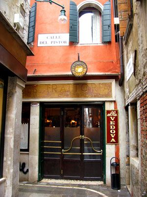 """Trattoria Ca' D'Oro """"Alla Vedova""""    Bacaro is a local wine bar where the locals relax and enjoy eating snacks called Cichetti. They are looking forward to chatting with friends at night. The most famous one of the many Venetian Bacaros is here """"Trattoria Ca' D'Oro """"Alla Vedova""""."""