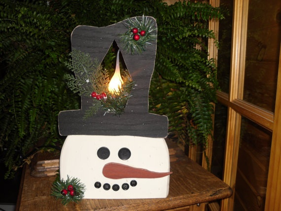 Handmade Wood Crafted Christmas Snowman With By Craftglassfinds 3000