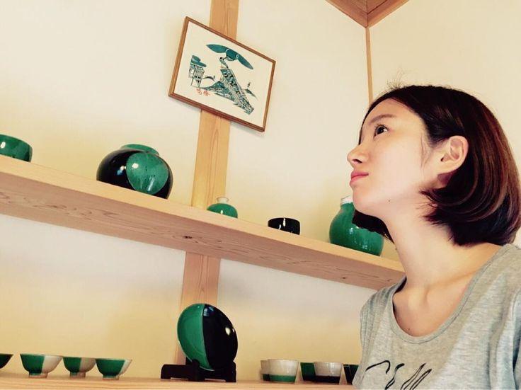 鳥取の有名な窯元、因州中井窯さんを見学 #中井窯 #鳥取 #窯元 #緑 #お皿