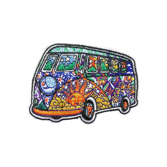 Psychedelic Bus Patch Iron On Patches by ForCrossStitch on Etsy