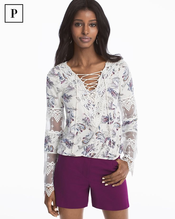 Petite Long-Sleeve Lace-Up Floral Print Top