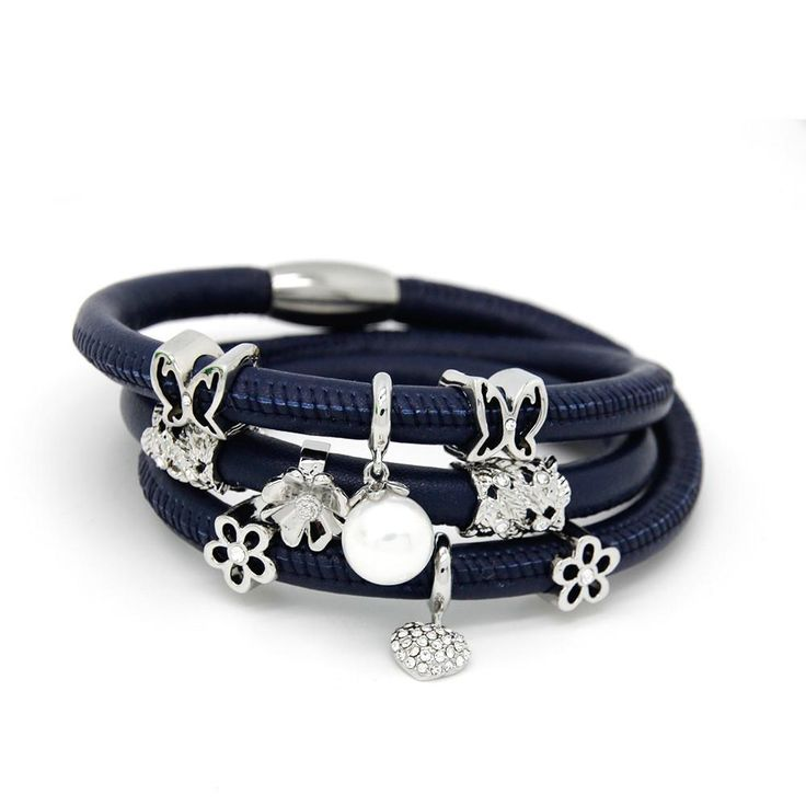 Fashion Jewelry Endless Bracelets 60cm Wrap Leather Bracelet with cute Lovely Silver Plated Charms Bracelet for Women - V-Shop