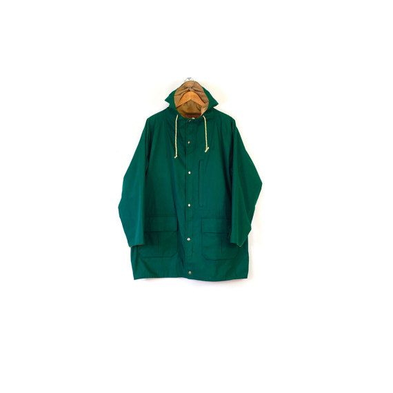 Vintage cotton field jacket / Lighweight emerald green spring coat / Women's boxy green jacket / Cinch waist lightweight coat