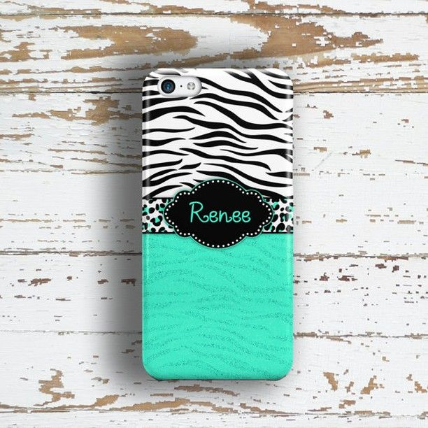 Personalized Girlfriend gift Girls iPhone 5c case Cute Iphone 4s case with name Animal print with turquoise (9982) 11.33  direct link if you want purchase spree.to/7cc  This animal print monogrammed phone case makes a cute teen fashion accessory.  I have used a black and white tiger or zebra print and teamed it with a turquoise color.  I will finish off the design with the name or custom text of your choice in a cute girly font.  direct link if you want purchase spree.to/7cc   Include your…