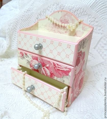 Мини-комоды ручной работы. Ярмарка Мастеров - ручная работа «Розовая дымка» Мини-комод для украшений. Handmade.