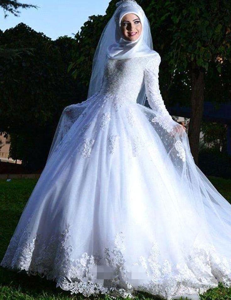 Custom Made Long Sleeve Muslim Wedding Dress A Line Hijab Arabic Wedding Gown Bride Dress abiti da sposa