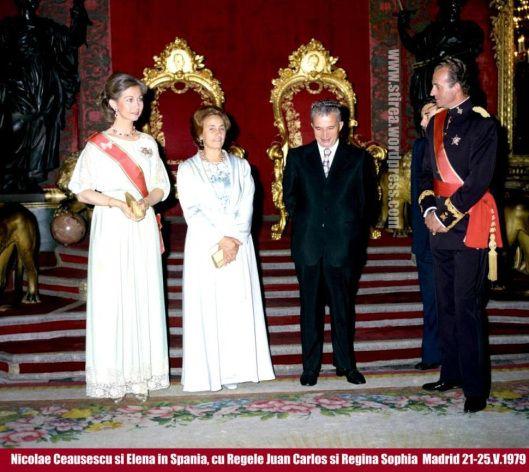 Nicolae Elena Ceausescu and King Juan Carlos of Spain