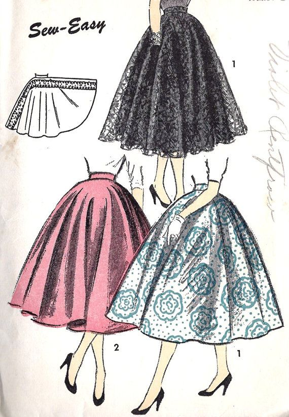 1950s Misses' Circle Skirt Vintage Sewing Pattern