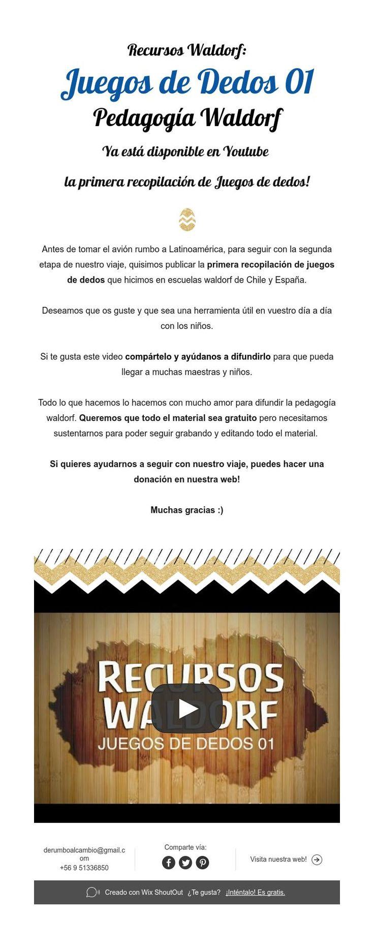 Recursos Waldorf:  Juegos de Dedos 01  Pedagogía Waldorf  Ya está disponible en Youtube  la primera recopilación de Juegos de dedos!