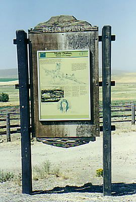 Marie Dorion - Native American woman who led men to the Oregon Territory. While she followed Sacajawea by six years, Dorion's journey was longer and more difficult.   The image is of Marie Dorion's trail marker on the Oregon Trail.