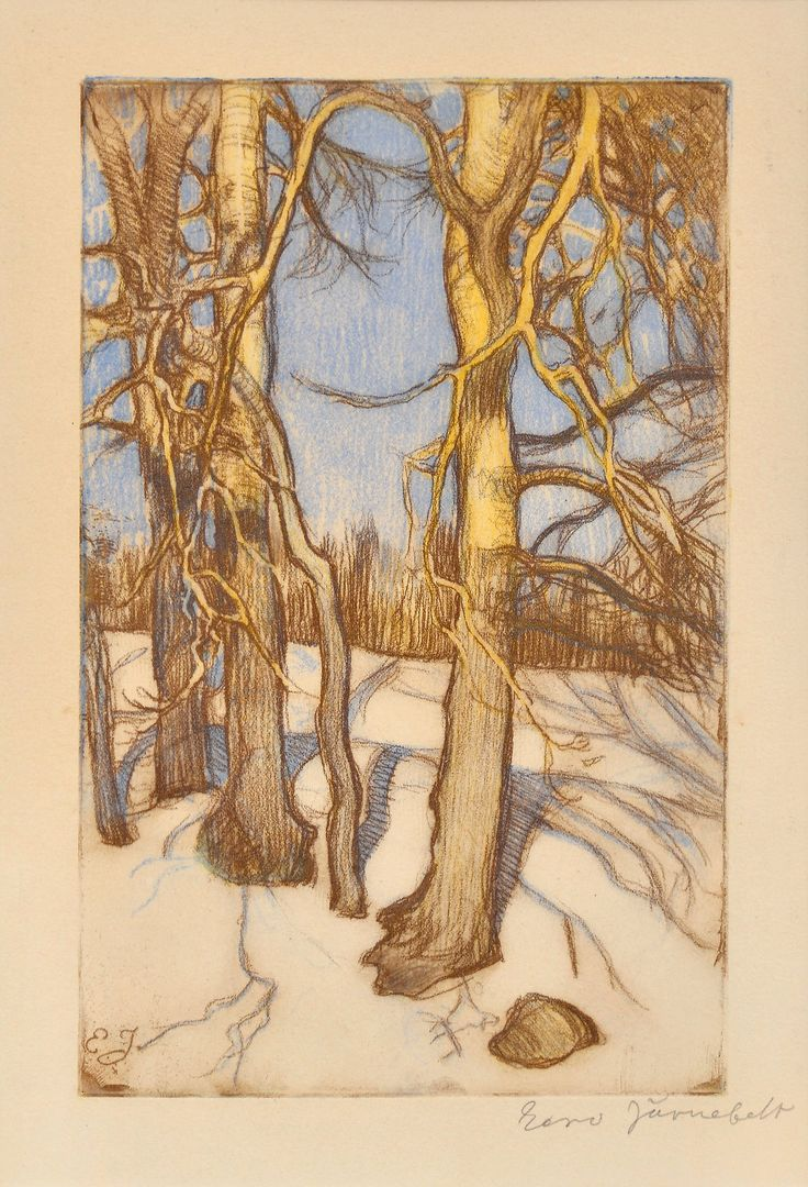 """Winter Trees"", etching - Eero Järnefelt, Finland."
