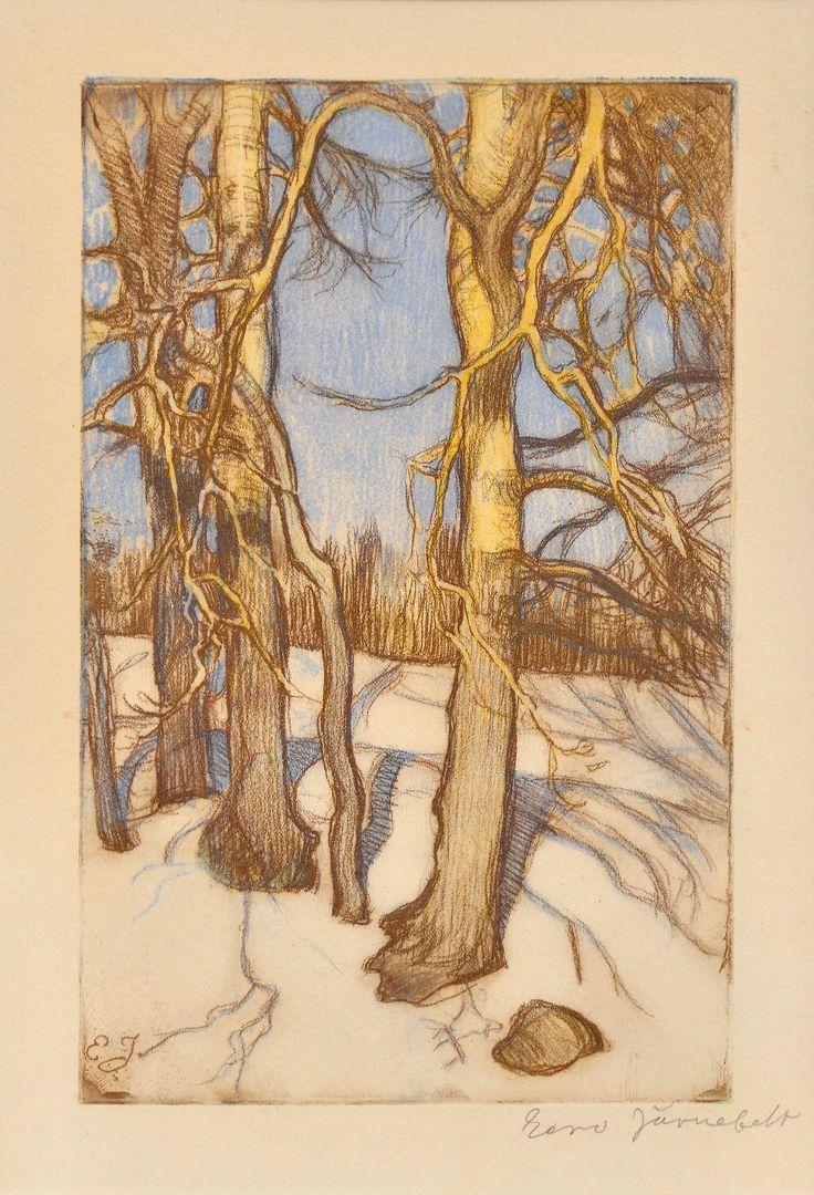 """Winter Trees"", etching - Eero Järnefelt, Finland."