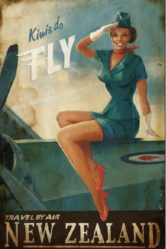"""Kiwis Do Fly"" proclaims this vintage style print on canvas by NZ artist Paul Ny, ""Travel by Air New Zealand"""