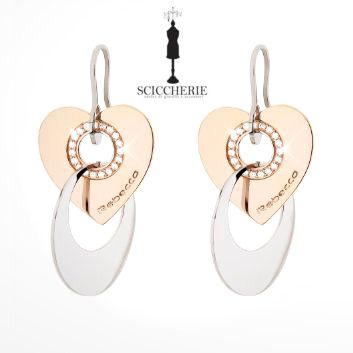 Rebecca Gioielli Collezione San Valentino.  Orecchini in acciaio e bronzo bagnato in oro rosa con pietre.  #sanvalentino #rebeccajewels #sciccherie
