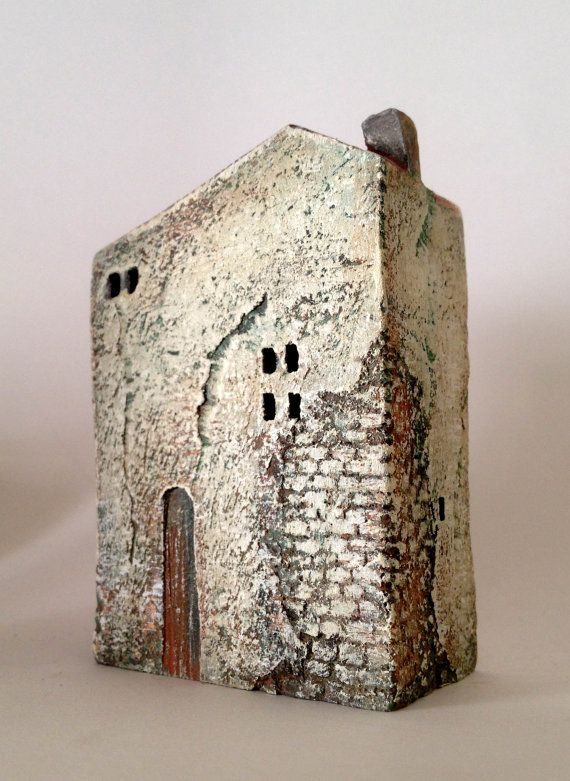 All my houses are handmade and unique, made from white or black clay, burned in a kiln on 1080 degrees. Some of them are glazed and some painted with ceramic or acrylic colors. My houses can be used as a decoration or a nice artful gift for any occasion.    Size: height approx 8cm, width approx 6 cm