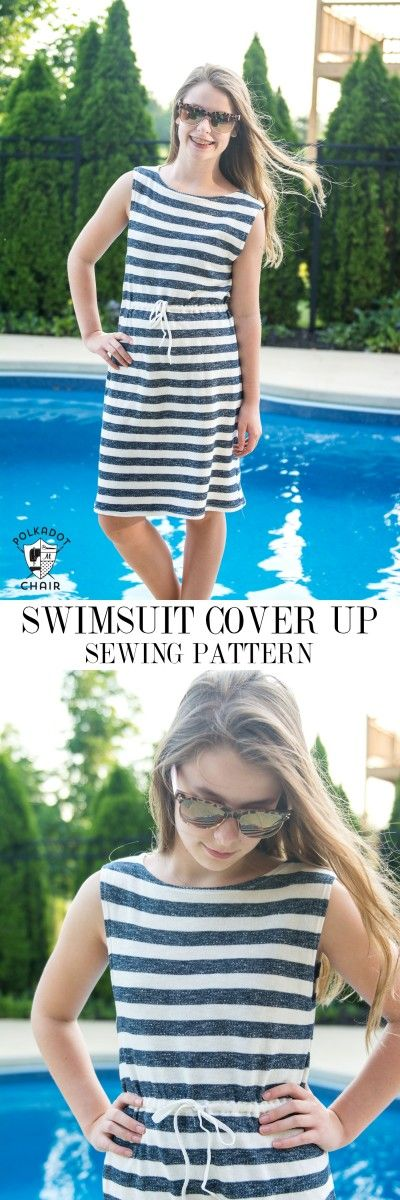 Easy Summer Sundress or Swim Cover up sewing pattern. Fun summer fashion tutorial, love the style of this coverup.