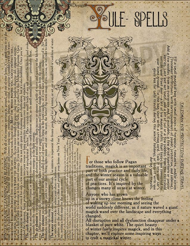 Yule Midwinter Wiccan Sabbat Book Of Shadows Page Spells Yule