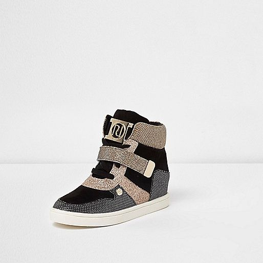 Girls black and gold glitter wedged trainers - Trainers - Footwear - girls