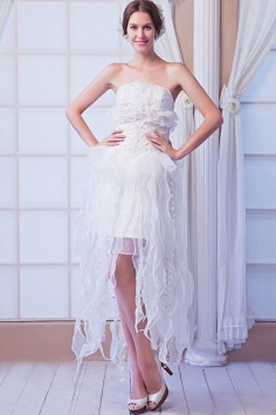 A-Line Strapless Organza Wedding Dress ted0137 - SILHOUETTE: A-Line; FABRIC: Organza; EMBELLISHMENTS: Beading , Draped , Lace; LENGTH: Knee Length - Price: 166.6000 - Link: http://www.theeveningdresses.com/a-line-strapless-organza-wedding-dress-ted0137.html