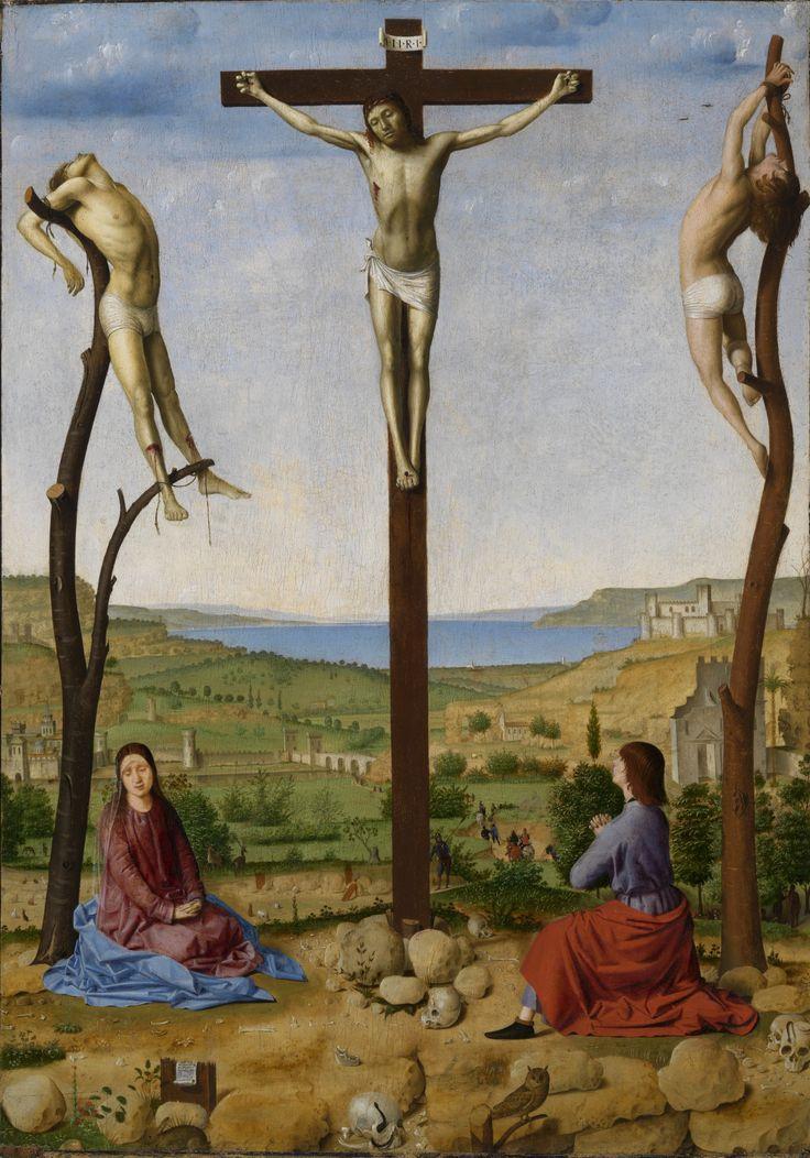 Antonello da Messina (1430–1479) - Calvary. Crucifixion with Saint Mary and Saint John Evangelist.