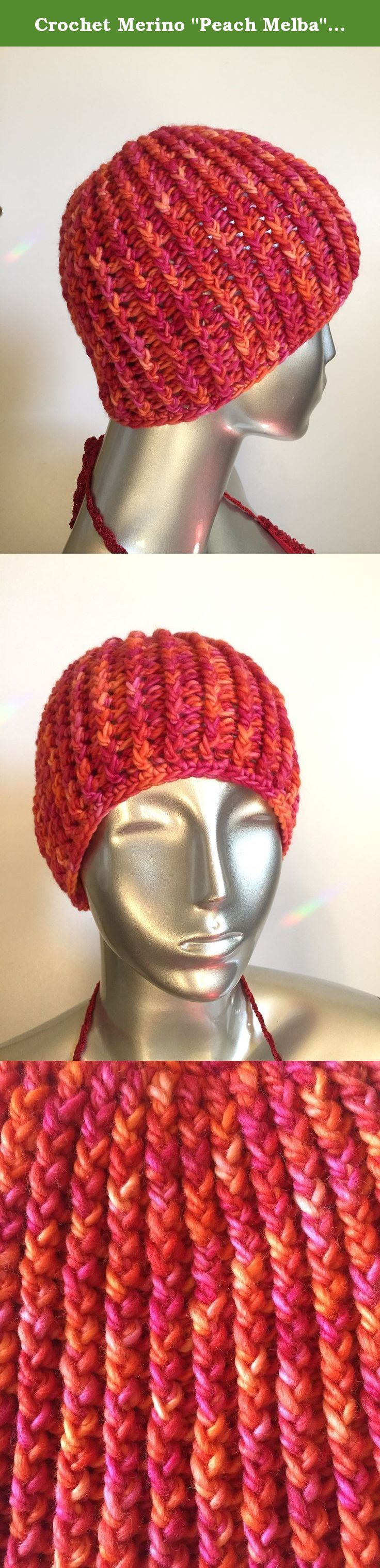 """Crochet Merino """"Peach Melba"""" Ribbed Hat. 8.5 inches in height, 18.5-22 inches around. Size: Medium 100% Merino Wool One of a kind."""
