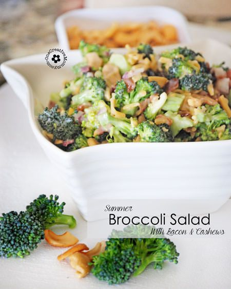 This delicious broccoli salad with bacon and cashews is perfect for summer! With fresh broccoli, bacon, cashews, and raisins, you can't go wrong!