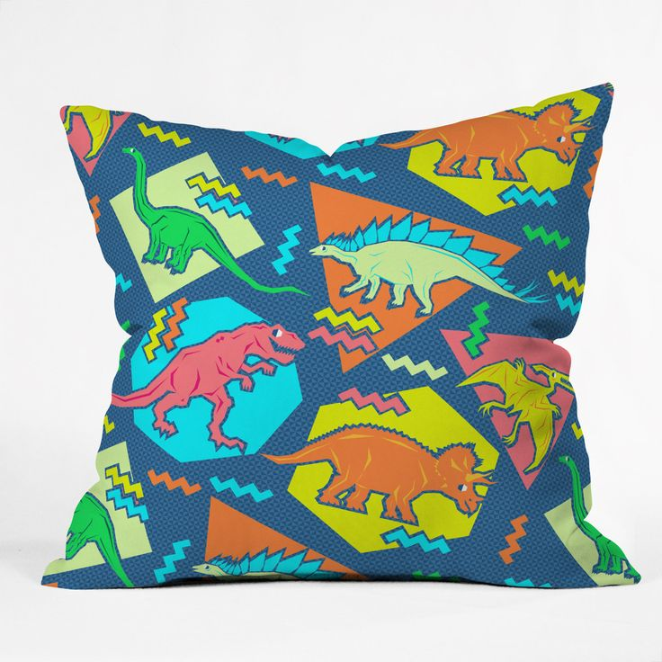 Chobopop 90s Dinosaur Pattern Outdoor Throw Pillow | DENY Designs Home Accessories