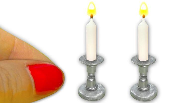 Miniatura de velas (realmente se encienden) y candelabros - Tutorial