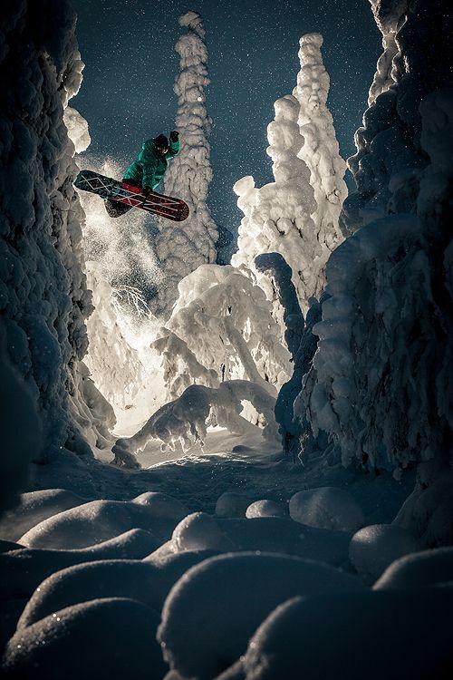 Mystical world of snowboarding.