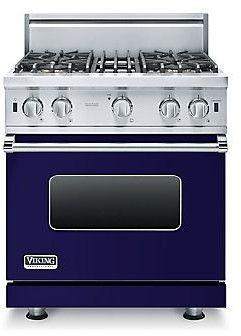 Viking VGIC53014BCB 30 Inch Pro-Style Gas Range with 4 Open Elements, 4.0 cu. ft. Oven Capacity, ProFlo Convection Oven, Gourmet-Glo Broiler, VariSimmer Setting, Four 15,000 BTU Open Burners and SureSpark Ignition System: Cobalt Blue