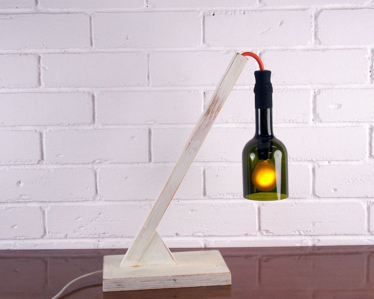 Industrial lamp- bottle lamp office-lamp with wood base-table lamp-desk lamp-lighting industrial-Home & Living-decor-office decor- wine lamp by BottlesAndOthers on Etsy