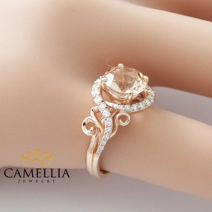 14k rose gold engagement ring rose gold by camelliajewelry