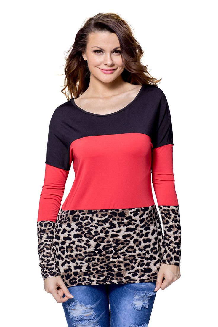 Chicloth Black Red Leopard Color Block Long Sleeve Blouse Top