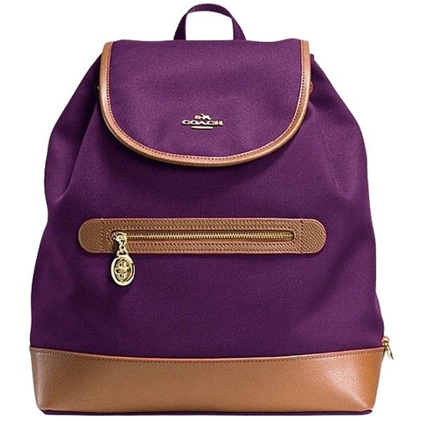 Pre-owned Coach Sawyer In Canvas F37240 Plum Backpack ($189) ❤ liked on Polyvore featuring bags, backpacks, purple backpack, coach backpack, canvas knapsack, purple bag and canvas backpack