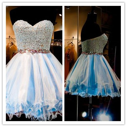 Tulle Lace Homecoming Dress/Blue Fitted Homecoming Dress/Short Prom Dress #H032