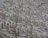 Punto blanco grueso, lana Merino, tiro de lana, manta, manta gruesa, gigante manta de punto, Grande Punto, tejidos de manta, Natural, Merino