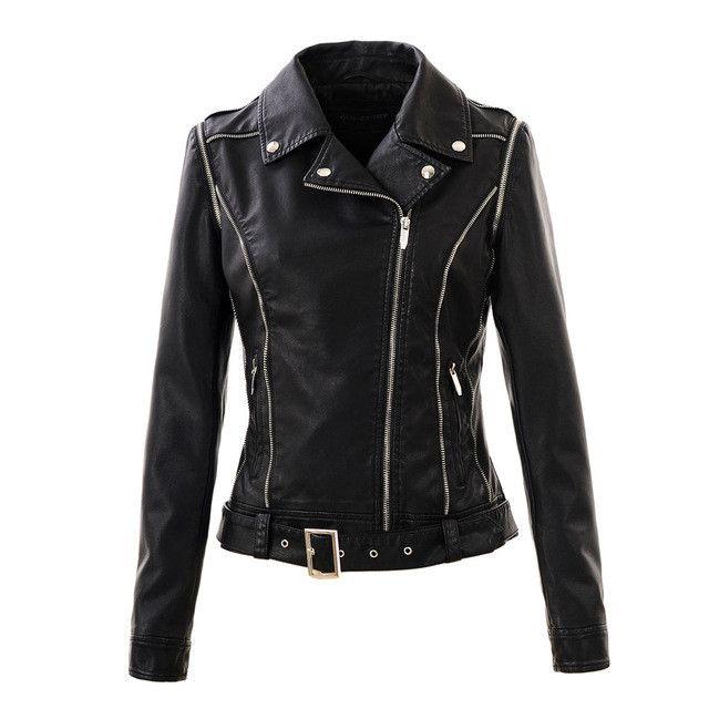 Women jacket leather Spring women clothing casual coats ladies street style zipper PU black leather jackets