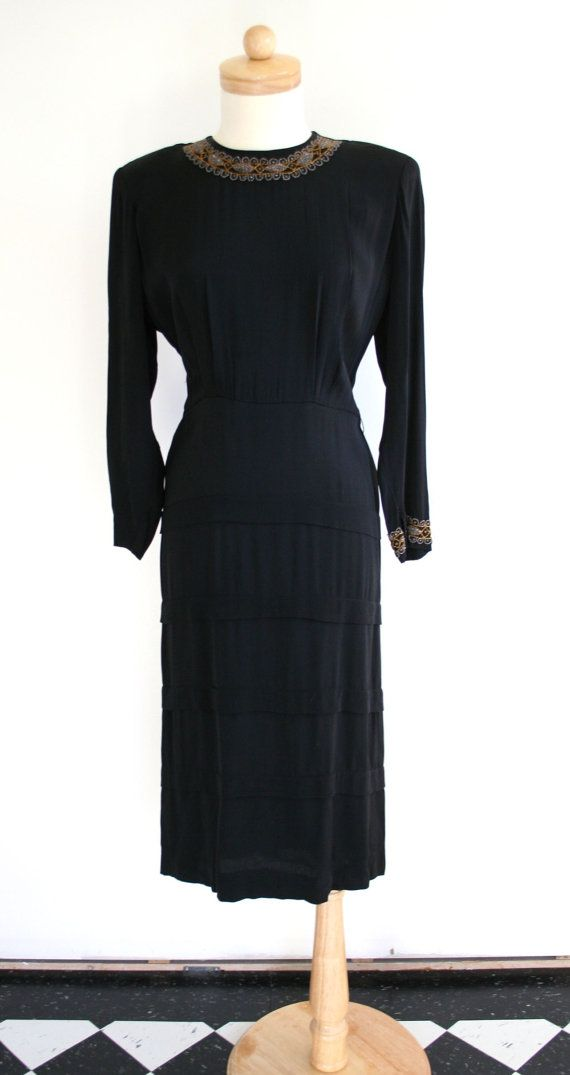 Amazing 1930's silk crepe long sleeved dress with beading, back pleats and tier details size M-L