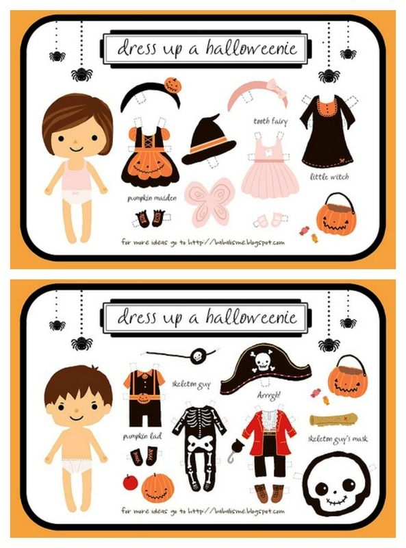 The cutest free printable Halloween paper dolls ever, via babal is me