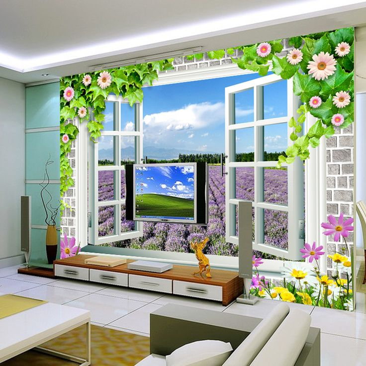Free Shipping 3D scenery outside window wallpaper mural purple lavender blue and white fake windows pastoral wallpaper