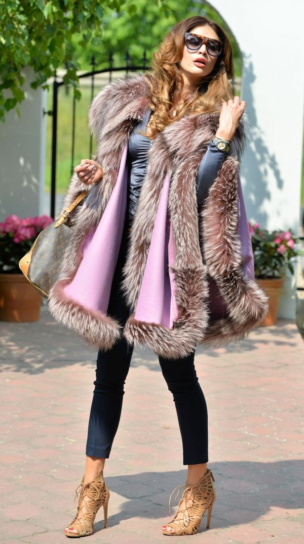 Fox Furs   Cashmere Silver Fox Fur Cape