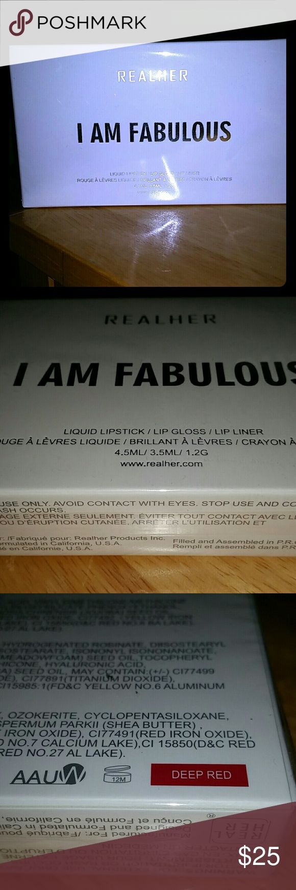 "New in box Real her 3 pc deep red lipstick gloss Brand new in box. Real her ""I am fabulous "" 3 pc lip set. This kit is deep red. Includes liquid lipstick, lip gloss and lip liner. Made from natural ingredients. realher Makeup Lip Liner"