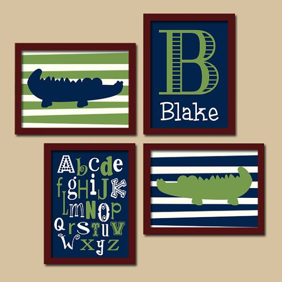 Alligator Boy Navy Blue Green Monogram Alphabet Set of 4 Prints Wall Baby Decor Art Crib Nursery Pottery Barn