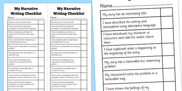 Narrative Writing Student Checklist