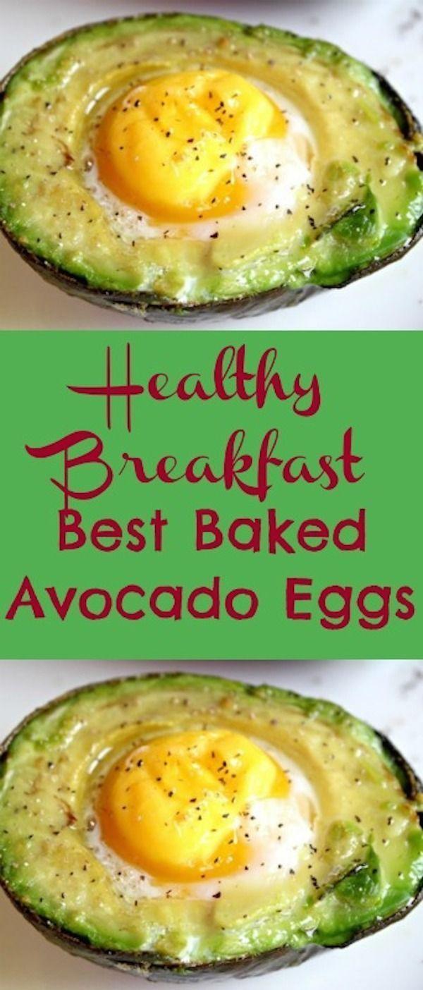 Best Breakfast Baked Avocado Eggs Recipe #healthybreakfast #breakfast #avocado #egg #easyrecipes #glutenfree #avocadobake