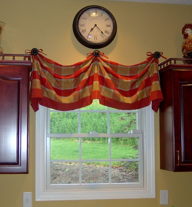 valance for the kitchen pinned to wall