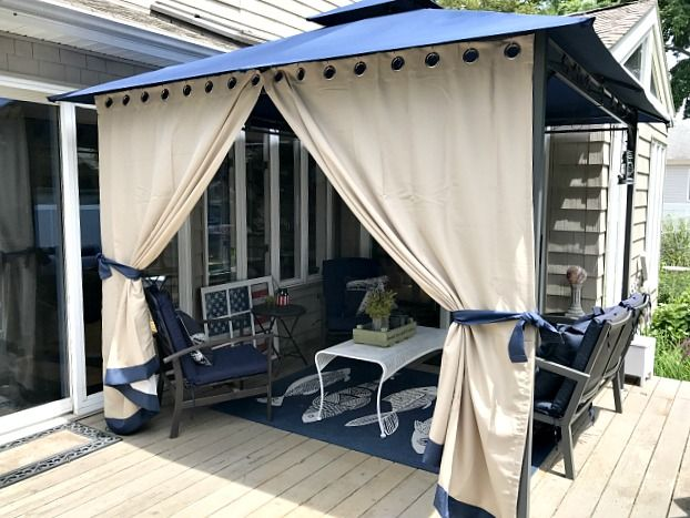 DIY gazebo curtains with tie-backs for sun glare