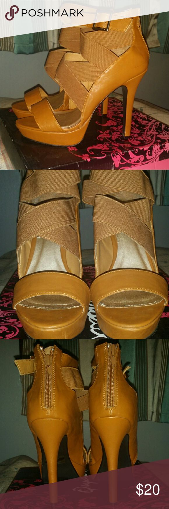 Size 8 Strappy Camel  high heeled sandals Size 8 Qupid high heeled sandals, 5 inch heel with one inch platform Qupid Shoes Heels