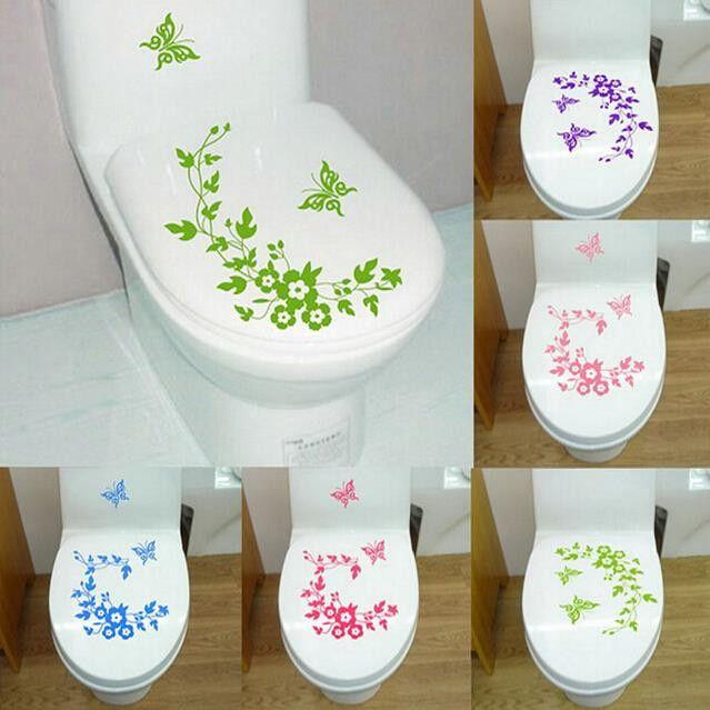 Butterfly & Flower Wall Sticker Toilet Decor - Green