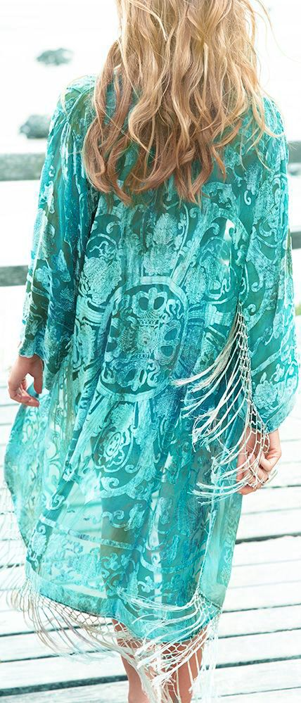 turquoise & white - Boho Beautiful - love the design- the fabric - and the color - AMAZING